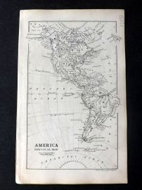 Cornwell & Dower 1849 Antique Map. America Physical Map.